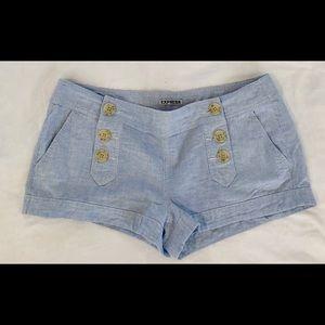 Express light blue linen & cotton shorts, 10